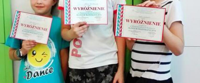 Wyróżnienie w Międzynarodowym Konkursie Kangur Matematyczny